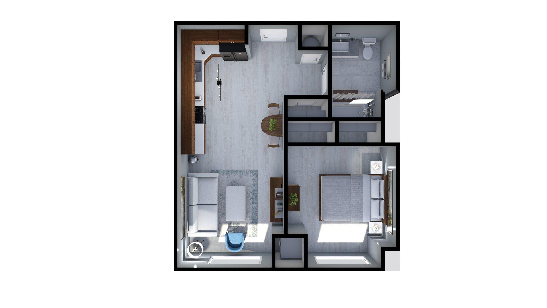 Floor plan rendering: The Lee